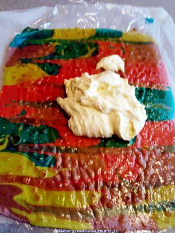 """Oma Löffel`s Kuchen = Biskuitrolle heute """"in echt Starken Farben"""" - Rezept - Bild Nr. 7020"""