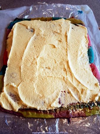 """Oma Löffel`s Kuchen = Biskuitrolle heute """"in echt Starken Farben"""" - Rezept - Bild Nr. 7022"""