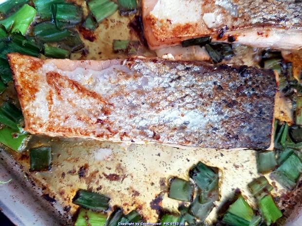 Biggi`s Fisch = Lachs an Käse-Creme-Spinat und Salzkartoffel - Rezept - Bild Nr. 7030