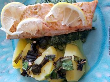 Rezept: Biggi`s Fisch = Lachs an Käse-Creme-Spinat und Salzkartoffel