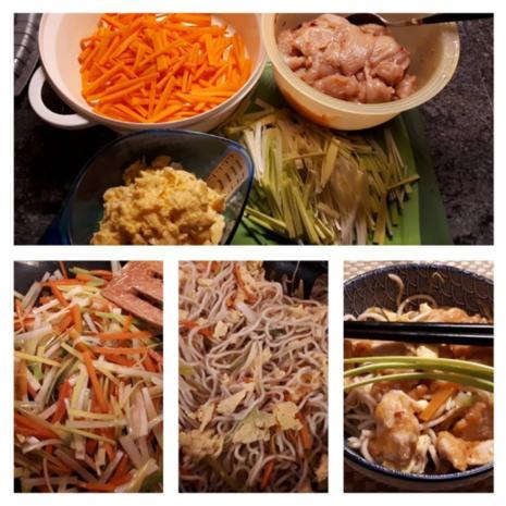 Chinesische Bratnudeln mit Ei, Huhn und Shrimps - Rezept - Bild Nr. 7062