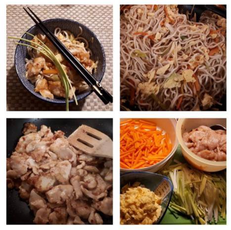 Chinesische Bratnudeln mit Ei, Huhn und Shrimps - Rezept - Bild Nr. 7063
