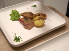 Saltimbocca alla Romana, Rosmarinkartoffeln und Erbsen-Minz-Püree - Rezept - Bild Nr. 7089
