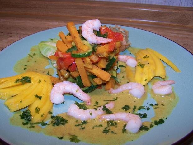 Gemüse mit Curry-masala- Kokos- Soße - Mango - Rezept - Bild Nr. 7163