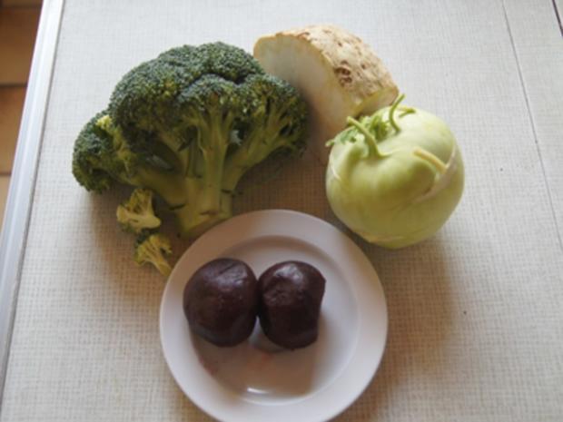 Kohlrabi-Schnitzel mit Brokkoli und Rote Bete-Sellerie-Stampf - Rezept - Bild Nr. 7164