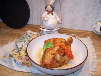 Hähnchenschlegel mit etwas Gemüse in der Pfanne aus dem Backofen - Rezept - Bild Nr. 7195