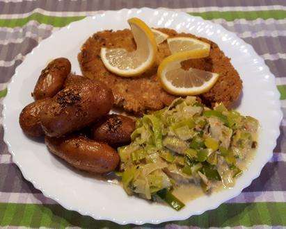 Kicher-Schnitzel, Röstkartoffeln und Curry-Lauch - Rezept - Bild Nr. 7576