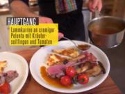 Lammkarree an Polenta mit Tomaten und Seitlingen - Rezept - Bild Nr. 2