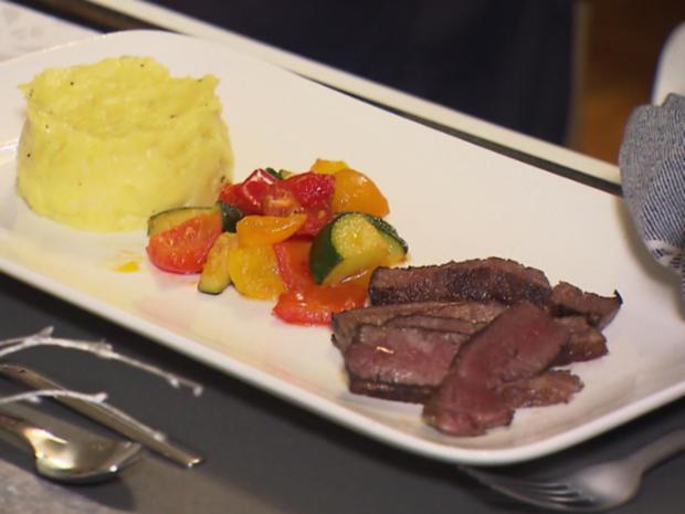 Kobe-Rind-Filet mit getrüffeltem Kartoffelstampf, mediterranem Gemüse und Rotweinsoße - Rezept - Bild Nr. 3