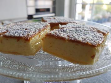 Rezept: Oma Löffel`s Kuchen = Puddingschnitten mit selbst hergestelltem Eierlikör