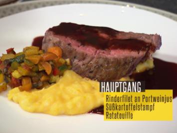 Rinderfilet an Portweinjus, Süßkartoffelstampf und Ratatouille - Rezept - Bild Nr. 2