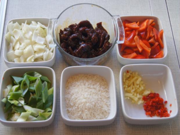Rindfleisch mit Austernsauce und Jasmin Reis - Rezept - Bild Nr. 6