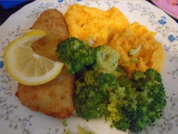 Backfisch mit Brokkoli und Süßkartoffelstampf - Rezept - Bild Nr. 2