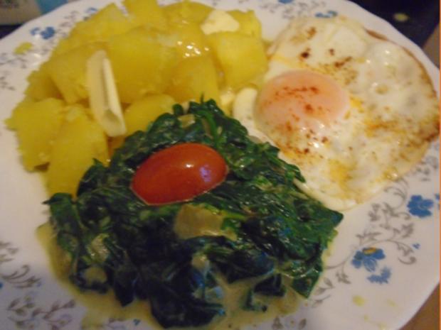 Baby-Spinat mit Spiegelei und Kartoffeln - Rezept - Bild Nr. 2