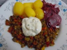 Rindermett-Gemüse-Pfanne mit Sauerrahm, Rote Bete und Drillingen - Rezept - Bild Nr. 7624