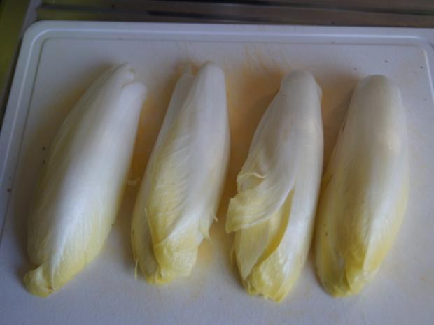 Hähnchenbrustfiletschnitzelchen mit Chicoree und Knollenselleriestampf - Rezept - Bild Nr. 7641