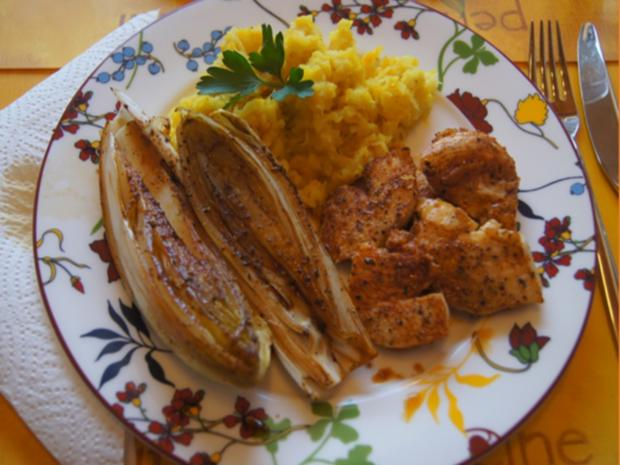 Hähnchenbrustfiletschnitzelchen mit Chicoree und Knollenselleriestampf - Rezept - Bild Nr. 7647