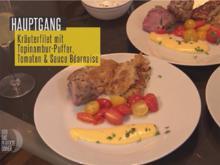 Kräuterfilet, Topinamburpuffer, Balsamico Tomaten und Sauce Bernaise - Rezept - Bild Nr. 7648