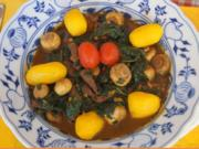 Rindfleisch-Spinat-Champignon-Wok mit Drillingen - Rezept - Bild Nr. 2
