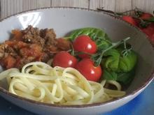 Bavette/Spaghetti mit Hackfleischsauce  - Spinat - Rezept - Bild Nr. 7654