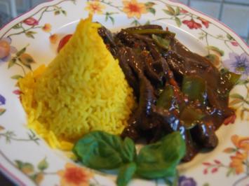 Rindfleisch mit Zuckerschoten und gelben Basmatireis - Rezept - Bild Nr. 2