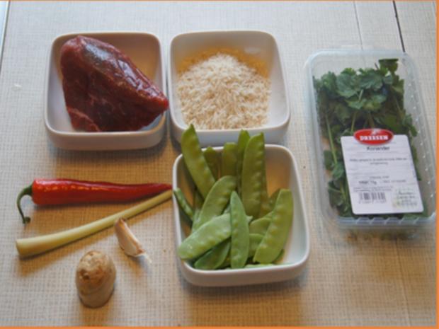 Rindfleisch mit Zuckerschoten und gelben Basmatireis - Rezept - Bild Nr. 3