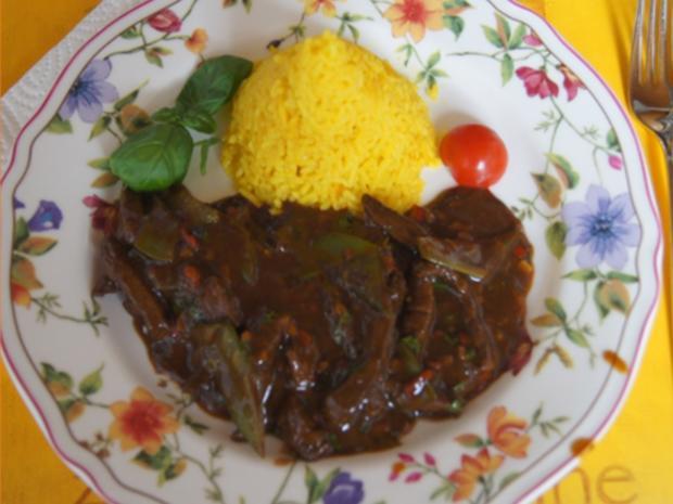 Rindfleisch mit Zuckerschoten und gelben Basmatireis - Rezept - Bild Nr. 15