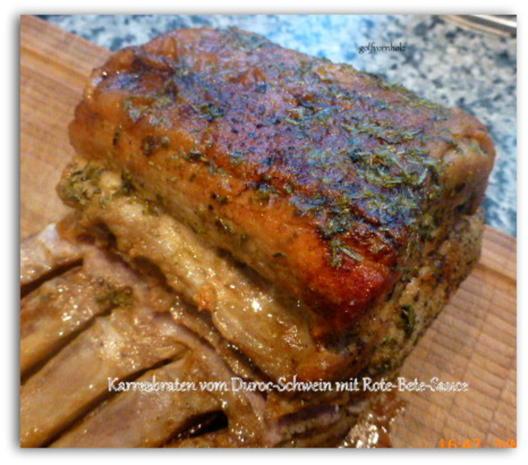 Karreebraten vom Duroc-Schwein mit Rote-Bete-Sauce - Rezept - Bild Nr. 7694