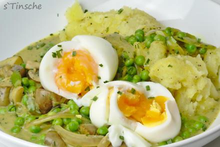 Eier in Champignon-Erbsen-Currysoße - Rezept - Bild Nr. 4