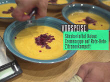 Süßkartoffel-Kokos Creme Suppe auf rote Bete Zitronen Kompott, Kräuterfladenbrot - Rezept - Bild Nr. 7688