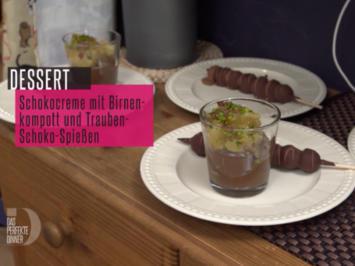 Rezept: Schokoladige Crème de la Crème mit hausgemachtem karamellisierten Birnenkompott