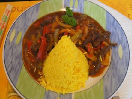 Rindfleisch-Paprika-Wok mit gelben Basmatireis - Rezept - Bild Nr. 2