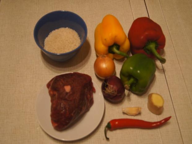 Rindfleisch-Paprika-Wok mit gelben Basmatireis - Rezept - Bild Nr. 3