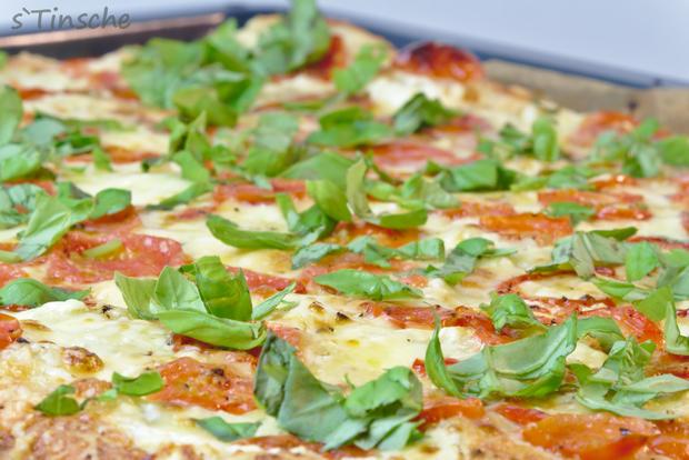 Dinkel-Tomaten-Drei-Käse-Pizza - Rezept - Bild Nr. 7763