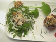 Feigen mit Ziegenkäse an Rucolasalat mit Birnen, Manchego und Walnüssen - Rezept - Bild Nr. 2