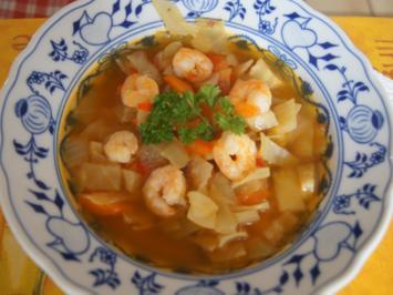 Weißkohl-Gemüse-Suppe mit Garnelen - Rezept - Bild Nr. 2