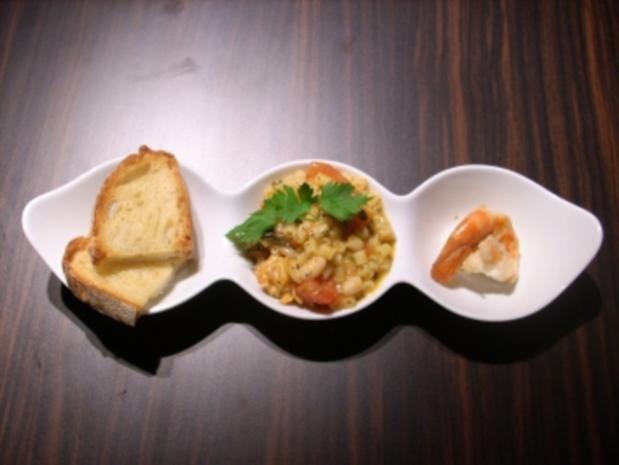 Nudeln mit italienischen weißen Bohnen und gebratenen Gambas - Rezept