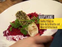 Heilbuttfilet mit Kürbiskernkruste auf Rote-Bete-Risotto und Meerrettichschaum - Rezept - Bild Nr. 2