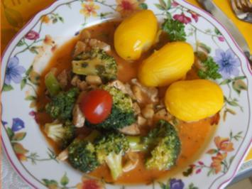 Brokkoli mit Schweinefiletgeschnetzelten, Erdnüssen und Kartoffeln - Rezept - Bild Nr. 7754
