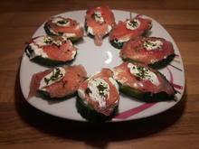 Gurken-Snack mit Frischkäse und Lachsschinken - Rezept - Bild Nr. 2