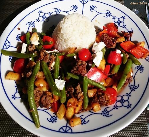 Gemüsepfanne mit Hackfleisch und Feta - Rezept - Bild Nr. 7758
