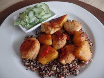 Rezept: Ananashähnchen auf Quinoa-Tricolore mit Gurkensalat