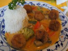 Pikante Mettbällchen mit Gemüse-Curry im Wok und Basmatireis - Rezept - Bild Nr. 7823