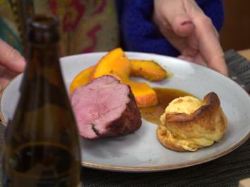 Rezept: Roastbeef mit Yorkshire Pudding und Kürbisgemüse