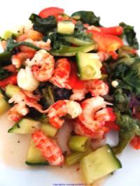 Rezept: Biggi`s Salate = frischer Salat mit Scampi`s (lauwarm)