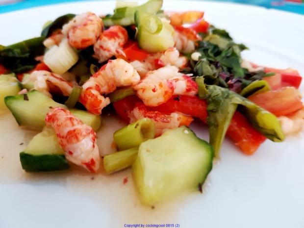 Frischer Salat mit Scampi`s (lauwarm) - Rezept - Bild Nr. 7864