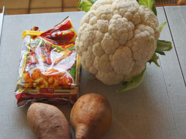 Doppelt frittierter Blumenkohl mit Süßkartoffelstampf - Rezept - Bild Nr. 7856