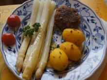 Spargel mit Rindfleischbulette und Frühkartoffeln - Rezept - Bild Nr. 2