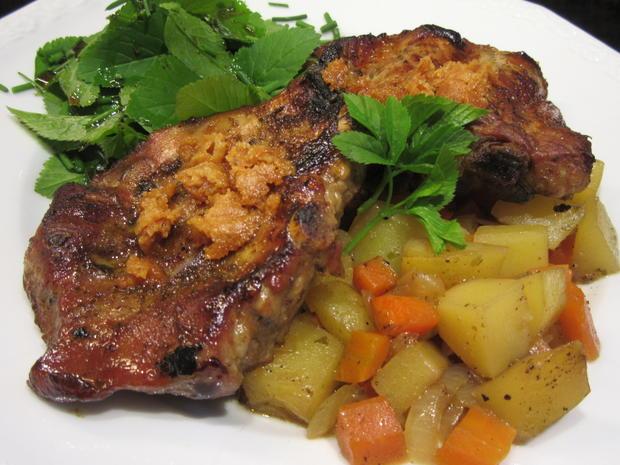 Fleisch: Marinierte Schälrippchen auf Karotten-Kartoffel-Ragout - Rezept - Bild Nr. 7958