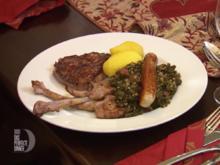 Grünkohl mit Sucuk, dazu Geflügelwurst, Kartoffeln und Rind- und Lammfleischvariationen - Rezept - Bild Nr. 2